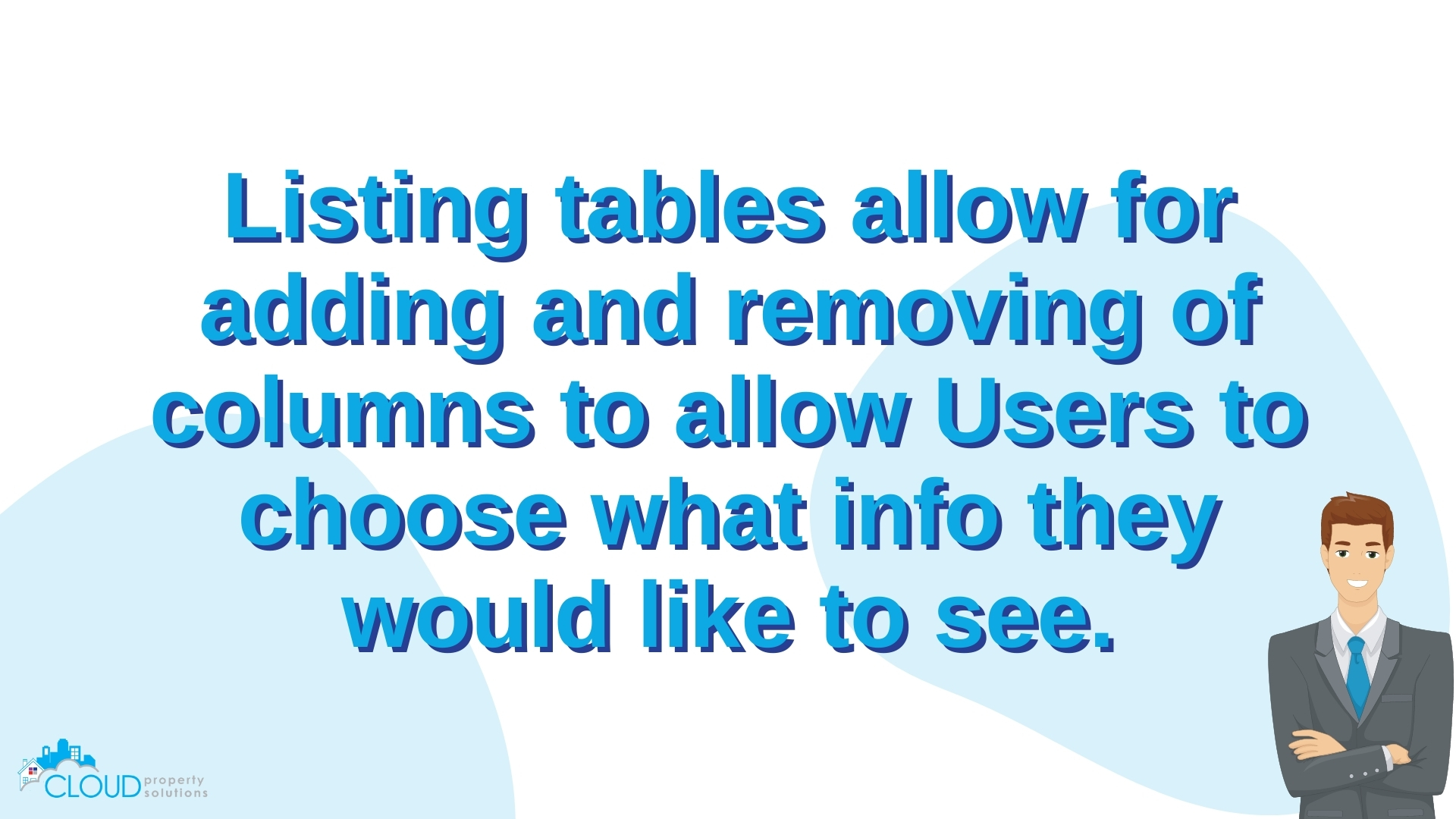Listing tables allow for adding and removing of columns to allow Users to choose what info they would like to see.
